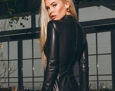 Black Leather Dress Long Sleeve Dress Eco Leather Dress | Etsy Coloured Leather Jacket, Black Leather Dresses, Custom Dresses, Celebrity Dresses, Lambskin Leather, Leather Fashion, Vintage Leather, New Dress, Vintage Ladies