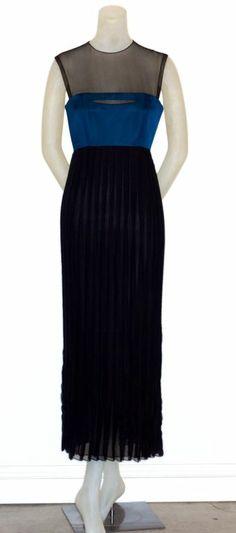 Geoffrey Beene gown in azure blue silk and black pleated silk chiffon