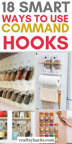 Organize home with command hooks. They're super cheap and serve as great diy organizers in kitchen, bedroom and other places. Organize home with command hooks. I'm sharing easy ways to use command hooks to organize and design your home. Diy Organizer, Home Organization Hacks, Organizing Your Home, Organizing Tips, Organising, Diy Storage Hacks, Dollar Tree Organization, Organizing Solutions, Kitchen Storage Hacks