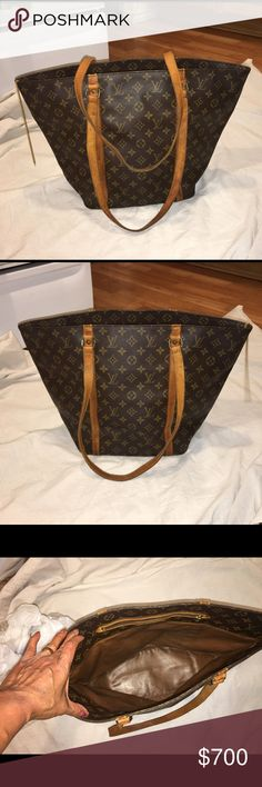 "Auth Louis Vuitton Sac Shopping Tote bag vintage Condition is Fair, canvas is crack free, shoulder strap are still in good condition but dark.lining is well preserved.Bag measurements: Width:19.4""X Height:13""X Depth:5.9"".I love the way this one carries, big and elegant. Louis Vuitton Bags Totes"