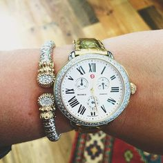Vahan + Michele = PERFECT!!! We love these two paired together!! #taraco #vahanjewelry #michelewatch