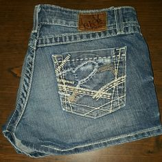 BKE Sabrina shorts by buckle These are BKE Sabrina jean shorts.  They are size w5 and in good used condition with a lil wear throughout.  They have the upgraded solid yellow thread on the side that pops nice against the denim.  Expensive and quality made at a fraction of the price. BKE Shorts Jean Shorts