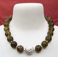 Collar de ágata amarilla y plata de ley (925), SaR Plata y Gemas