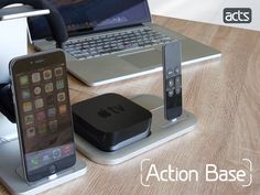 """We designed three different """"bases"""" for the lightning charge dock that extends it functions and retains its beauty."""