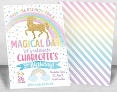 Unicorn Birthday Invitations, Unicorn Invitation, Unicorn Party ideas, Magical Rainbow Unicorn Birthday