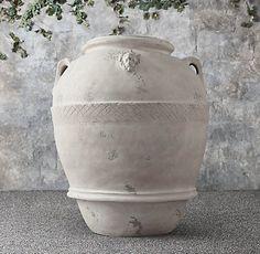 Mediterranean Olive Jars   RH Indoor Balcony, Balcony Garden, Indoor Plants, Terrace, Olive Jar, Outdoor Pots, Medicine Cabinet Mirror, Rug Sale, Terracotta