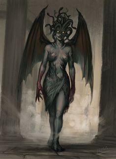 "ravennomad: ""sirgarrison-lordgary: ""Gorgon (Stheno) by Enmanuel Martinez (gmlemas on ArtStation) "" Excellent "" Gothic Fantasy Art, Fantasy Artwork, Mythical Creatures Art, Mythological Creatures, Fantasy Monster, Monster Art, Fantasy Character Design, Character Art, Medusa Art"