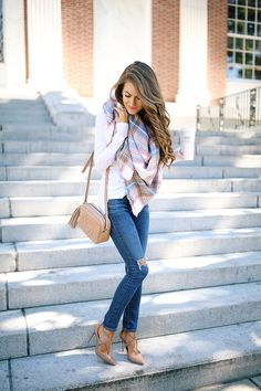 pair a blanket scarf with heels