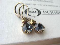Estate Style Blue Rhinestone Earrings - antique brass, gold, vintage inspired, formal, evening. $22.50, via Etsy.