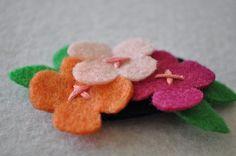 felt flower bunch hair clip by littlemunchkinpie on Etsy, $8.00