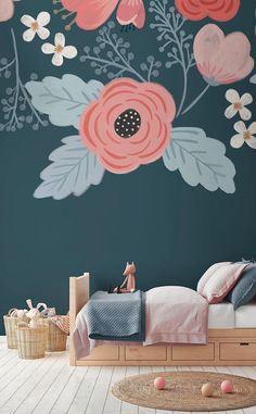 Bring some joy into your home with these playful florals. This wallpaper features hand-painted flowers with a stylish colour palette, perfect for sophisticated nurseries.