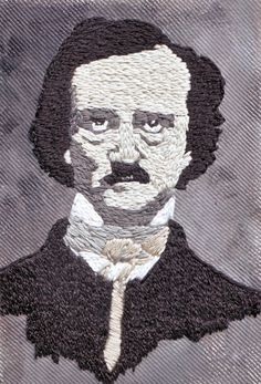 Edgar Allan Poe embroidery by OurDailyThread    This is a hand-embroidered portrait of Edgar Allan Poe done in cotton embriodery on canvas duck.