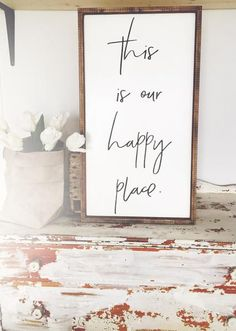 This Is Our Happy Place | Family Sign | Family Quotes | Family Pictures | Living Room Decor | Farmhouse House Decor | Living Room Wall Decor | Fixer Upper Style | Farmhouse Style | Farmhouse Decor | Rustic Decor | Wood Signs | Joanna Gaines | Shiplap