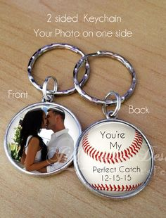 """CUSTOM PHOTO KEYCHAIN - Your Photo on one side - Baseball theme - """"You're my perfect catch"""" - engagement gift - anniversary gift - boyfriend"""
