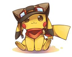 Pikachu wearing aviator hat, goggles, & scarf :)
