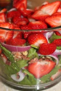 Strawberry Bacon Spinach Salad,,,I've made this many times, but just use raspberry vinaigrette, not the mayo based dressing. We love it!