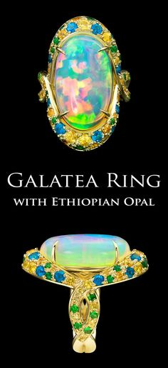 Galatea Ring by Adam Neeley. A magnificent Ethiopian opal displays a full spectrum of fire in this striking ring crafted in yellow gold. Pavé set golden sapphire, tsavorite garnet, and blue apatite adorn the setting and compliment the opal's dazzlin Opal Jewelry, I Love Jewelry, Modern Jewelry, Big Rings, Women's Rings, Opal Rings, Diy Rings Tutorial, Chevron Ring, Rose Quartz Ring
