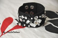 Gothic Black and White Cuff - Fabric Bracelet - Silver Snap Button Clip. $9.99, via Etsy.