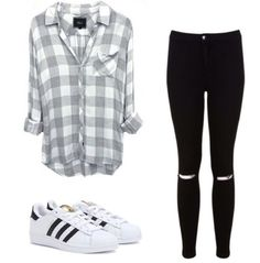 Simple outfit: Adidas superstars sneakers are great for an everyday outfit look Teenage Girl Outfits, Teenager Outfits, Outfits For Teens, Cute Fashion, Teen Fashion, Fashion Outfits, Cute Casual Outfits, Simple Outfits, Middle School Outfits