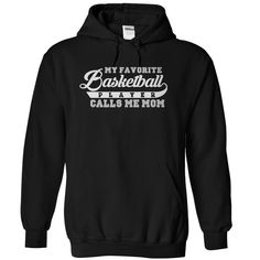 Do you have a son or daughter who plays basketball? Then show your pride for them by wearing this great t-shirt or hoodie! Bold, white lettering is printed on black, navy blue or royal blue fabric. So