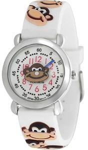 Geneva Platinum Kid's Monkey Design Watch, Silicone Strap