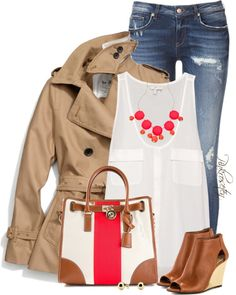 Polyvore Outfit Combinations of How To Wear a Trench Coat - Be Modish | Love the bright pink/coral, white and tan | cute purse! | I could skip the shoes - not practical for WI