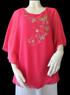 Hot Pink Poncho Top with Spring Butterfly Pattern. $39 Poncho Tops, Butterfly Pattern, Hot Pink, Elegant, Spring, Jackets, Women, Fashion, Classy