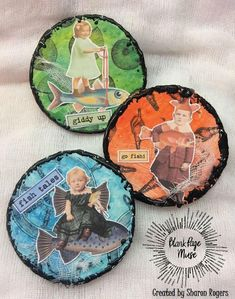 Blank Page Muse: June Group Challenge- Let's Go to the Beach! Artist Trading Coins #artcoins #blankpagemuse