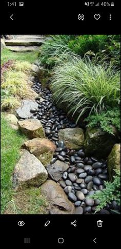 """50 Super Easy Dry Creek Landscaping Ideas You Can Make! 50 Super Easy Dry Creek Landscaping Ideas You Can Make!As an avid ,do-it-myselfer, I tend to look at things and an immediately think, """"I can Low Water Landscaping, River Rock Landscaping, Low Maintenance Landscaping, Low Maintenance Garden, Landscaping With Rocks, Outdoor Landscaping, Landscaping Ideas, Garden Stream, Lawn And Garden"""