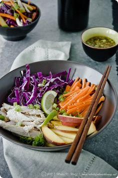 Asian Chicken Red Cabbage and Peach Salad