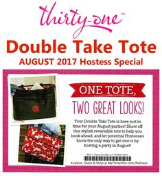 DOUBLE TAKE TOTE - AUGUST 2017 Hostess Special. LOVE the new Thirty-One prints for the 2017-2018 Fall-Winter season. Moosin\' Around is a favorite. Check out all the new prints at MyThirtyOne.com/PiaDavis