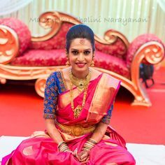 South Indian bride. Temple jewelry. Jhumkis.Pink silk kanchipuram sari.Braid with fresh flowers. Tamil bride. Telugu bride. Kannada bride. Hindu bride. Malayalee bride.Kerala bride.