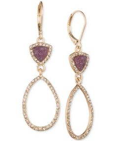 lonna & lilly Gold-Tone Crystal-Enhanced Drop Hoop Earrings
