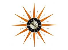 The Starburst Wood Wall Clock turns back time in any room. A great way to add some style to your decor, this wood and metal wall clock is a reproduction George Nelson design.