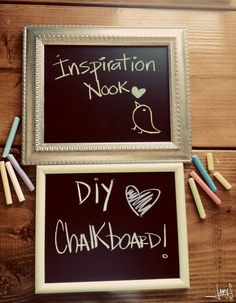 DIY Chalkboard Frame #DIY    Notes to self for my version - SUPPLIES:  --Uncle Al's frames  --Chalkboard contact paper (Amazon.com)  --Wood glue  --A semi-durable surface to use as the back of my contact paper.  A thin wood would work.  --Chalk + eraser!