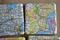 Mod Podged tile map coasters - could do this with anything.... old game instructions? old deck of cards? something cool with a game theme! maps would work...