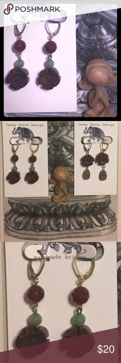 Nirvana Earrings Hand carved brecciated Jasper flowers dangle from skilled plated leverback earwires with faceted amazonite & carnelian .  Artists signature gift packaging included with purchase. Casey Keith Design Jewelry Earrings