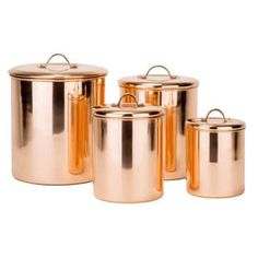 copper kitchen accessories With its bright copper finish and generous storage capacity, this copper plated stainless steel canister set is the perfect countertop storage solu Copper Canisters, Stainless Steel Canisters, Storage Canisters, Stainless Steel Kitchen, Kitchen Storage, Food Storage, Storage Containers, Kitchen Organization, Organization Ideas