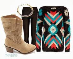 I adore Aztec ANYTHING so sweaters are no exception. Use an Aztec sweater as your focal piece, then stay neutral with the rest of your outfit. Black leggings, tan boots and a gold necklace finish this look.