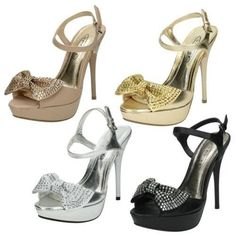Spot On High Heel Platform Sandal Ankle Strap With Diamante Bow Vamp #SpotOn #Nodata