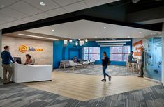 Fusion Design Consultants has completed the design of Jobcase's offices, a social media platform company located in Cambridge, Massachusetts. Jobcase's Cambridge, Cool Office Space, Office Spaces, Wood Path, Office Floor Plan, Flexible Furniture, Fusion Design, Waiting Area, Design Consultant