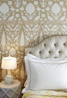 Bedroom Walls in Schumacher Chenonceau Wallpaper Fawn Double Roll,  (http://store.lynnchalk.com/schumacher-chenonceau-wallpaper-fawn-double-roll/)