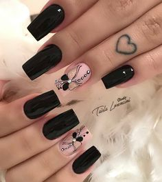 Acrylic Nail Shapes, Cute Acrylic Nails, Pastel Nails, Cute Nails, Wow Nails, Aycrlic Nails, Nail Nail, Square Nail Designs, Black Nail Designs
