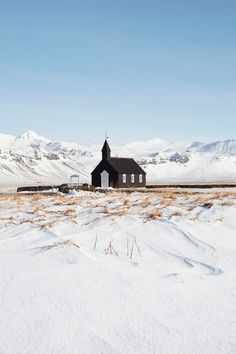 This church is set on lava fields at Búðir in West Iceland, and hosts some 100 weddings a year. Photo by Jonathan Gregson. This church is set on lava fields at Búðir in West Iceland, and hosts some 100 weddings a year. Photo by Jonathan Gregson. Iceland Destinations, Iceland Travel Tips, Africa Nature, Iceland Snow, Landscape Photography, Travel Photography, West Iceland, Magic Places, Iceland Wedding