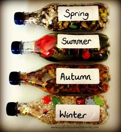Bottles - The Four Seasons Discovery Bottles - The Four Seasons I am going to make this for the classroom!Discovery Bottles - The Four Seasons I am going to make this for the classroom! Sensory Bottles, Sensory Bins, Sensory Activities, Classroom Activities, Toddler Activities, Preschool Activities, Preschool Centers, Montessori Math, Sensory Boards