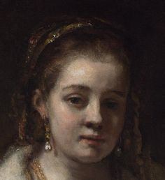 Rembrandt Portrait of Hendrickje Stoffels probably Oil on canvas, x cm National Gallery, London Detail. Rembrandt Portrait, Rembrandt Art, Basic Painting, National Gallery, Classic Paintings, Old Art, Sea Shells, Holland, Oil On Canvas