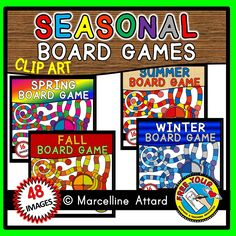 *SPECIAL INTRO PRICE* $10 instead of $16! ‪#‎SEASONAL‬ ‪#‎BOARD‬ ‪#‎GAME‬ ‪#‎CLIP‬ ‪#‎ART‬: #SPRING, #SUMMER, #FALL / #AUTUMN AND #WINTER GAME #TEMPLATES+ #SPINNER + GAME #PIECES