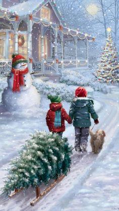 Christmas Scenery, Christmas Tree Cards, Noel Christmas, Vintage Christmas Cards, Country Christmas, Christmas Pictures, Christmas Decorations, Xmas, Old Time Christmas