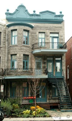 Beautiful triplex in The Plateau area of Montreal where Lora Weaver works and many of the characters live in my Lora Weaver mysteries. Love the stone, the roof detail, the staircase, the balconies--all of it:) Montreal Ville, Montreal Quebec, Quebec City, Beautiful Buildings, Beautiful Homes, Montreal Architecture, Westminster, Roof Detail, Visit Canada