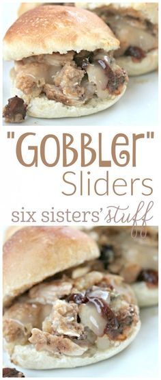 "Gobbler sliders from @sixsistersstuff | I was playing around the other day and decided that making my favorite Thanksgiving dishes would be so good if I turned them into sliders! That is how the ""Globbler"" Slider was created! Ha ha. I'm sure you all wanted to know."